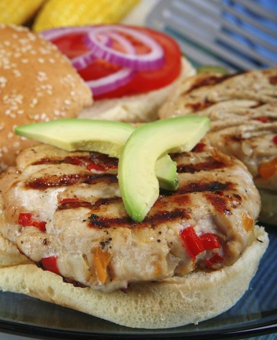 turkey burgers, avocado topping