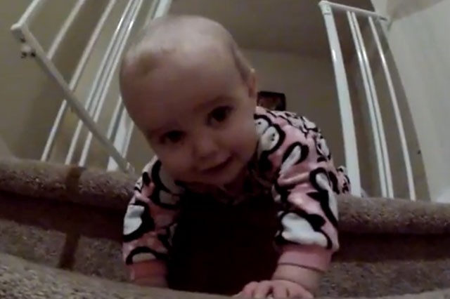 baby attempts stairs for the first time video