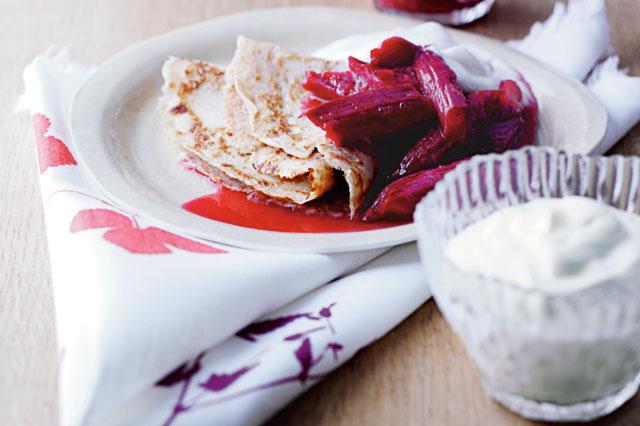 Spelt Flour Pancakes With Rhubarb And Cardamom