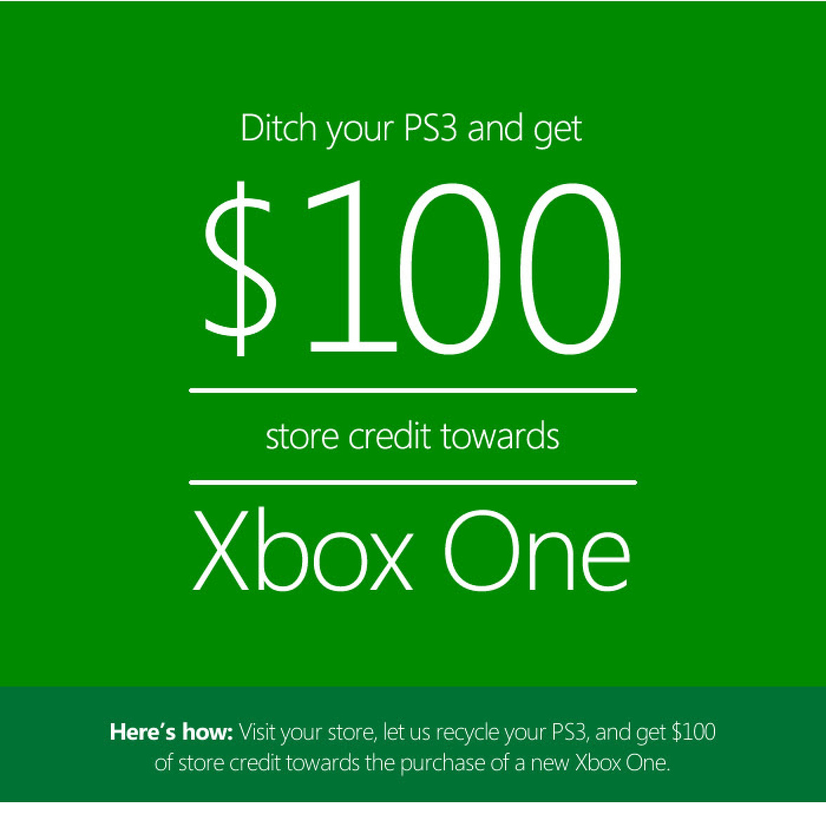 Ditch Your PS3 and Microsoft Will Give You $100
