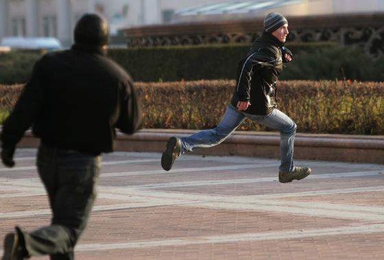 chasing a man