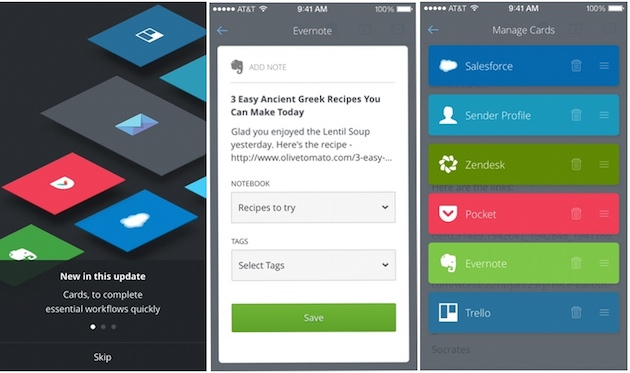 Save to Pocket and Evernote from your inbox with CloudMagic's Cards