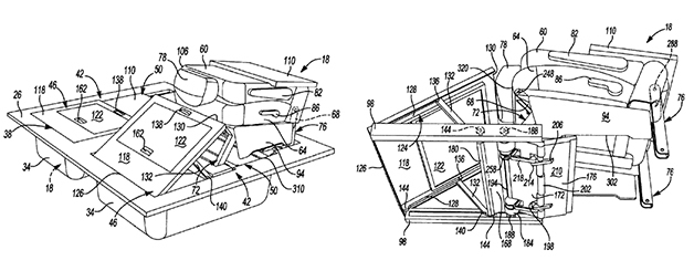 Chrysler's patent application for a new seat-stowing mechanism