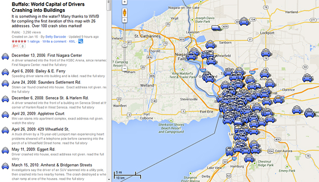 Screenshot of a map showing locations in Buffalo, NY where drivers have crashed into buildings