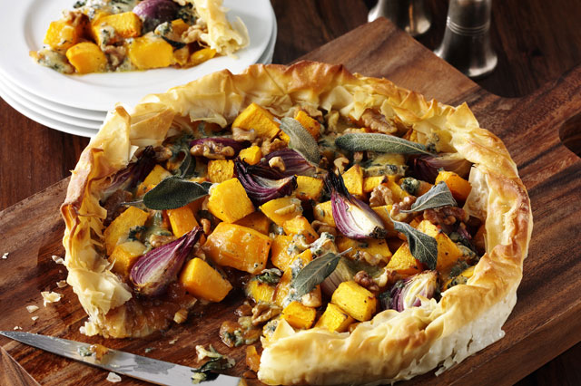 Butternut squash, sage and stilton pie