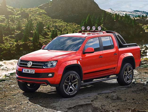 Volkswagen Amarok Canyon - front three-quarter view, red