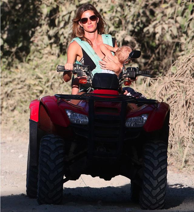Gisele Bundchen on a quad bike with baby Vivian