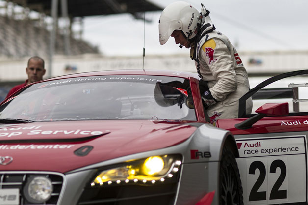 Felix Baumgartner climbs into Audi R8 LMS Ultra