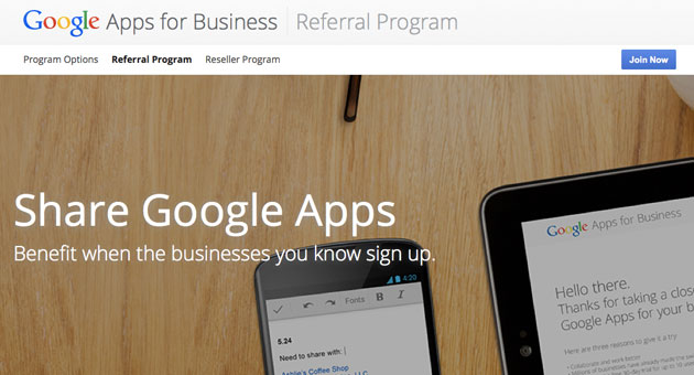 Google Apps for Business Referral Program pays you for every user that opts in