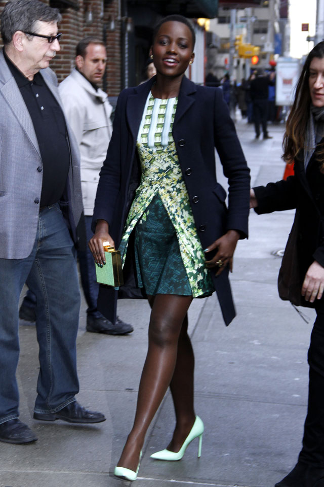 NEW YORK, NY - FEBRUARY 19: Lupita Nyong'o arrives for the