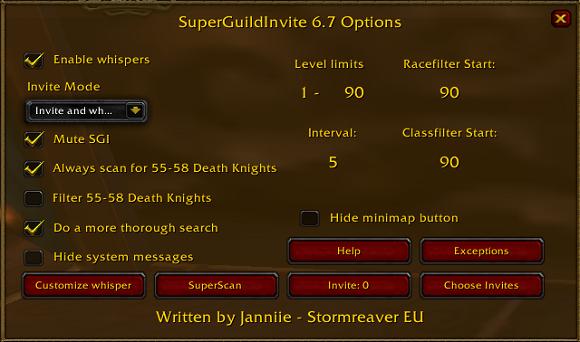 Super Guild Invite options