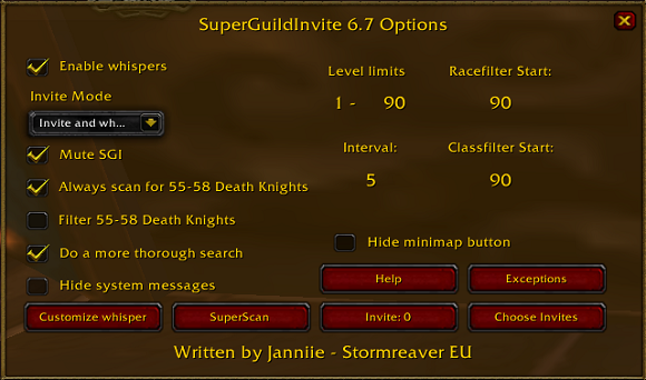 Super Guild Invite options