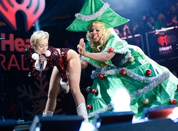 Singer Miley Cyrus performs at Z100?s Jingle Ball 2013, presented by Aéropostale, at Madison Square Garden on Friday, Dec. 13, 2013 in New York. (Photo by Evan Agostini/Invision/AP)