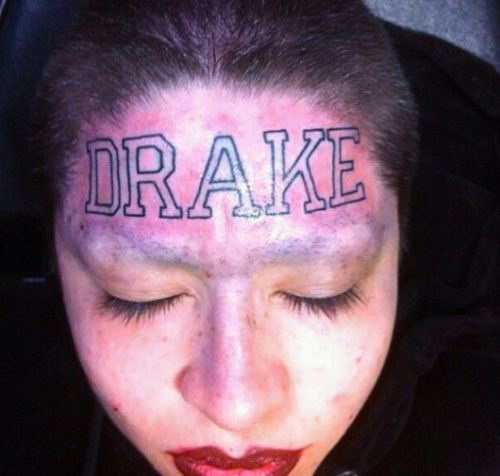 worst face tattoos hot girl drake forehead