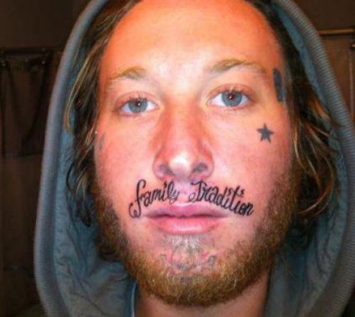 worst face tattoos family tradition lip tattoo