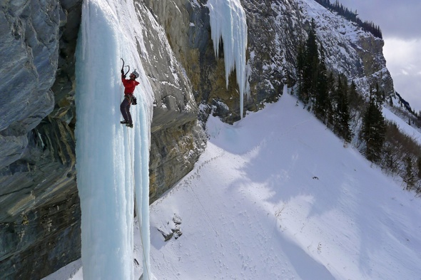 Incredible moment ice climber survives 60ft fall when frozen pillar collapses (photos)
