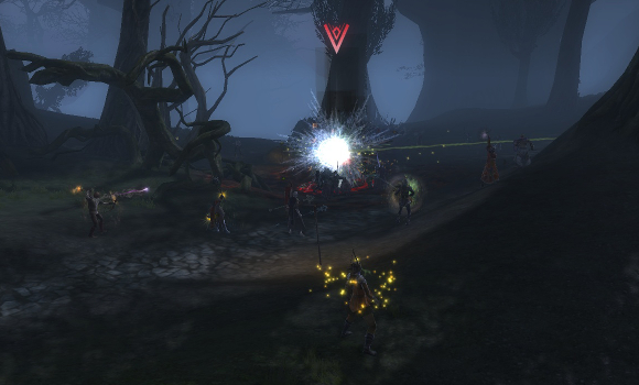 As I recall, those yellow sparkles are from me getting hit by the nearby Guardian wardstone.