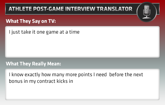 post-game interview athlete translator