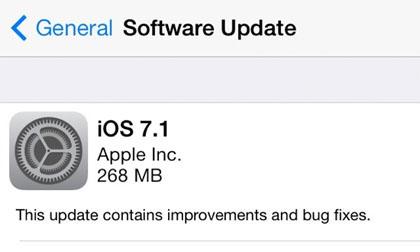 iOS 7.1 Update Screen