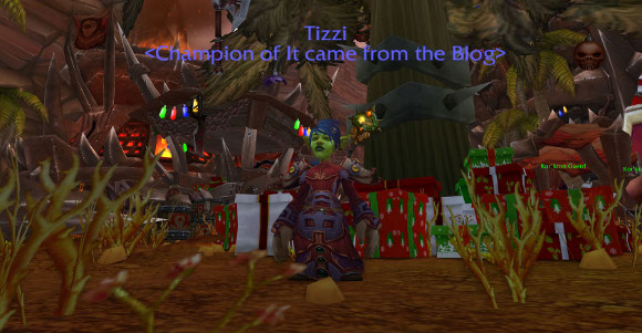 Under the Winter Veil tree in Orgrimmar
