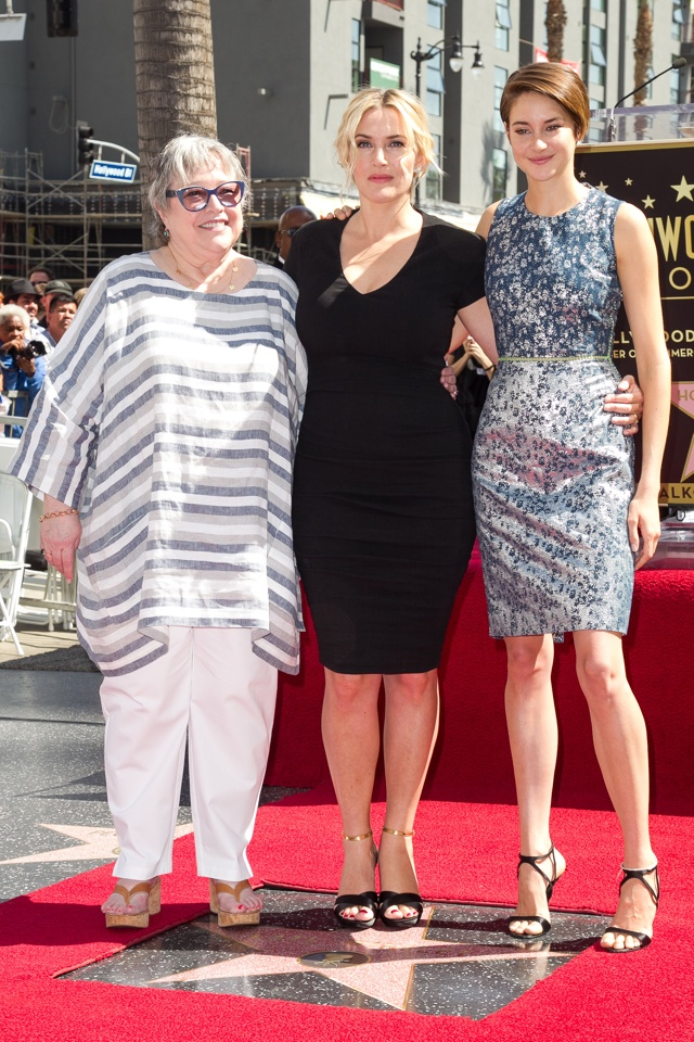 Shailene Woodley and Kathy Bates join Kate Winslet being honored with Star on the Hollywood Walk of Fame on March 17, 2014 in Hollywood, California. <P> Pictured: Kathy Bates, Kate Winslet and Shailene Woodley <P><B>Ref: SPL720993  170314  </B><BR/> Picture by: Splash News<BR/> </P><P> <B>Splash News and Pictures</B><BR/> Los Angeles: 310-821-2666<BR/> New York: 212-619-2666<BR/> London: 870-934-2666<BR/> photodesk@splashnews.com<BR/> </P>