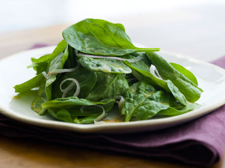 Baby Spinach Salad with Red Onions and Honey Mustard Dressing