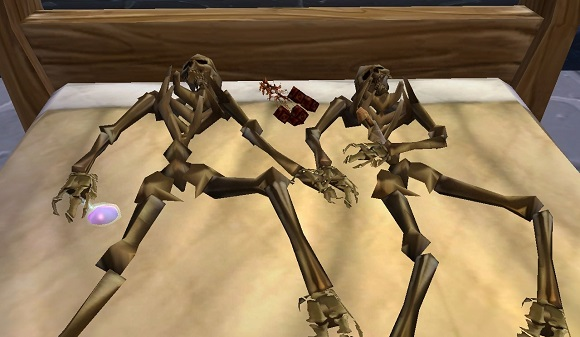 Skeletons on the bed