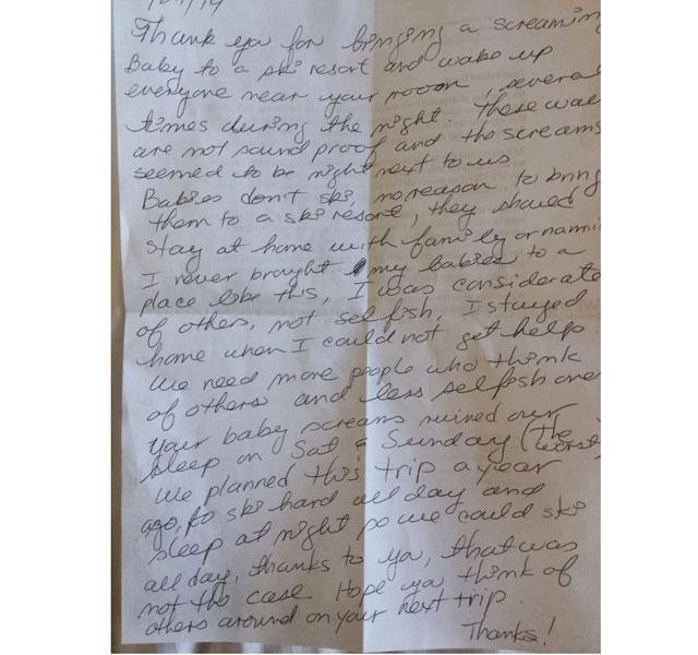 Note left to parents of a baby at ski resort