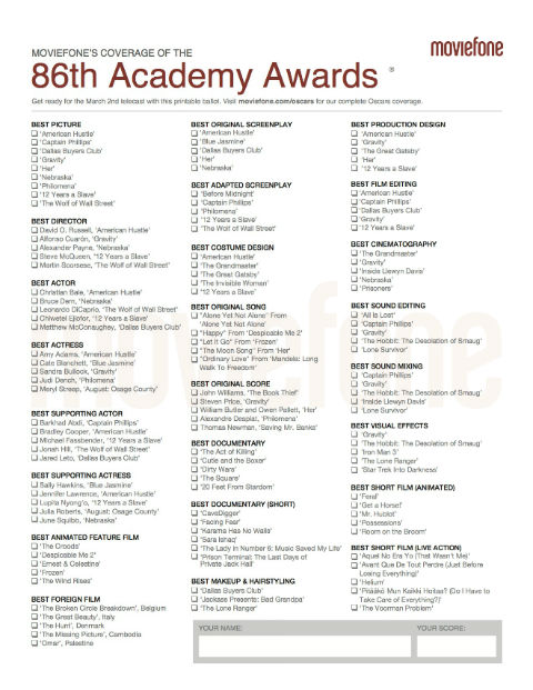 Oscars Ballot 2014: Printable Version | Moviefone.com