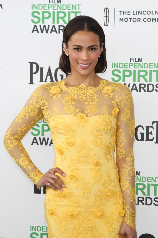 paula-patton-yellow-lace-minidress-2014-independent-spirit-awards