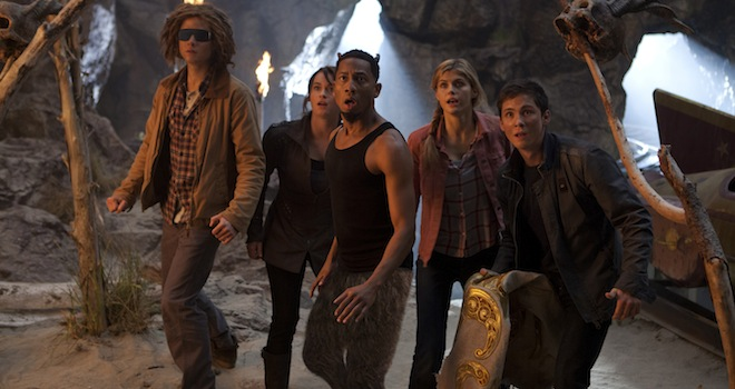 DF-12805_R3 - (left-right) Tyson (Douglas Smith), Clarisse (Leven Rambin), Grover (Brandon T. Jackson), Annabeth (Alexandra Daddario) and Percy (Logan Lerman) are shocked by their latest discovery.