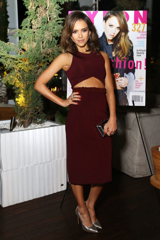 jessica-alba-cutout-burgundy-dress-nylon-magazine-cover-launch-party