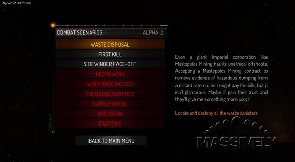 Elite: Dangerous alpha mission select