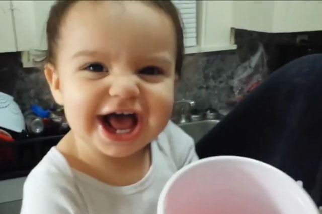 Baby laughs at cup - funny video