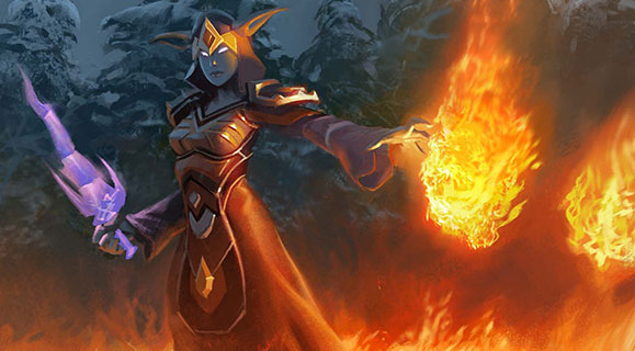 A draenei mage holds a fireball while surrounded by a field of fire.