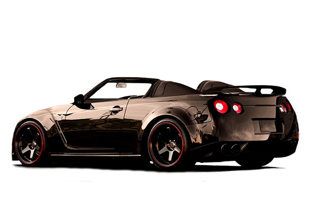 A Nissan GT-R Convertible built by Newport Convertible Engineering, front three-quarter view