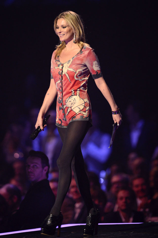 LONDON, ENGLAND - FEBRUARY 19:  Kate Moss onstage at The BRIT Awards 2014 at 02 Arena on February 19, 2014 in London, England.  (Photo by Karwai Tang/WireImage)