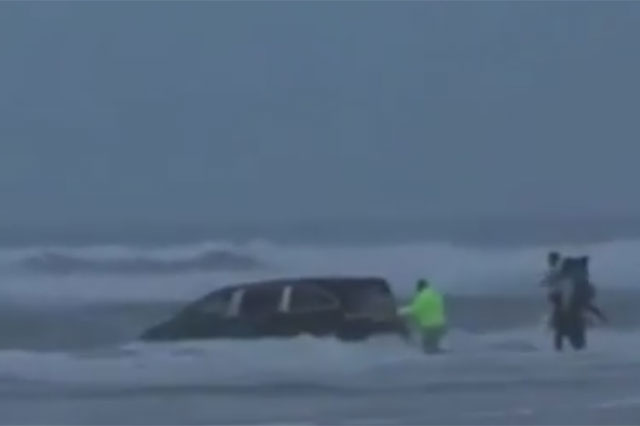 Pregnant woman drove minivan into the sea