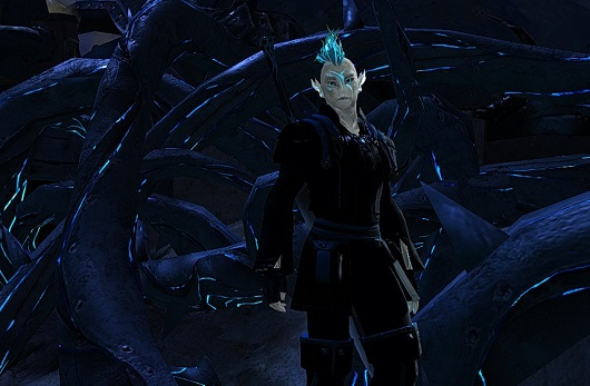 Sylvari standing in front of Pact thorn wall