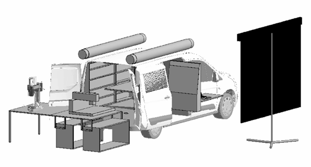 A rendering of the Hackmobile, a mobile fabrication shop in a Ford Transit Connect