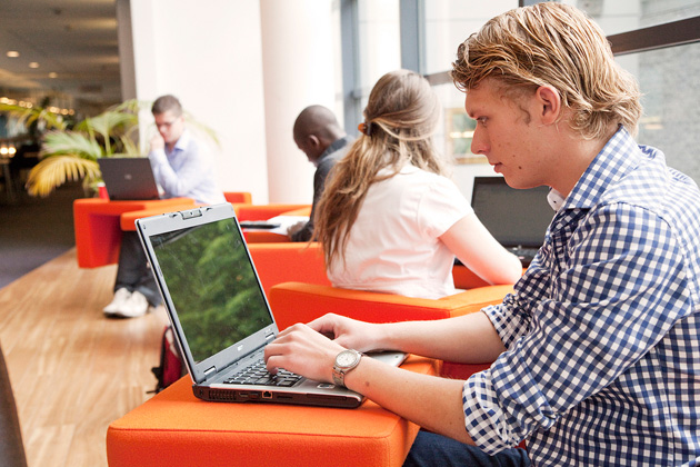 Students participating in online education
