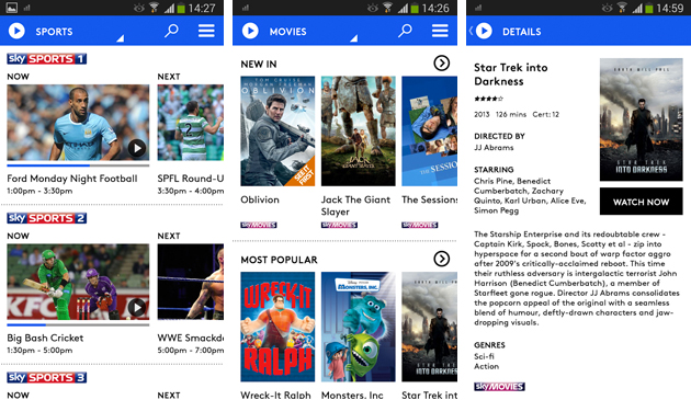 Sky Now TV beta for Android
