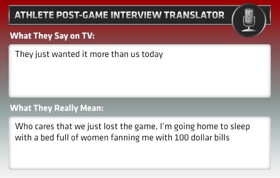 post-game interview athlete translator