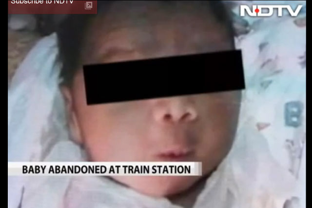 Baby abandoned at station