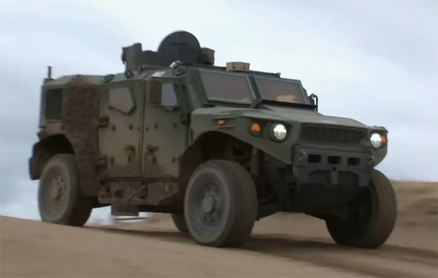 Screencap of a video demonstrating the Ulta Light Vehicle Prototype developed by TARDEC