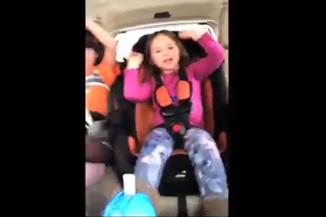 Mum films children singing in car as it crashes