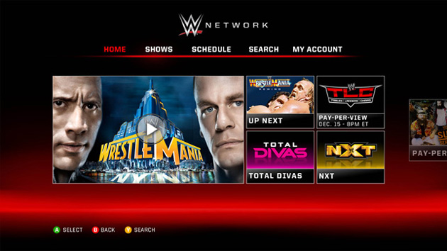 WWE Network on Xbox 360