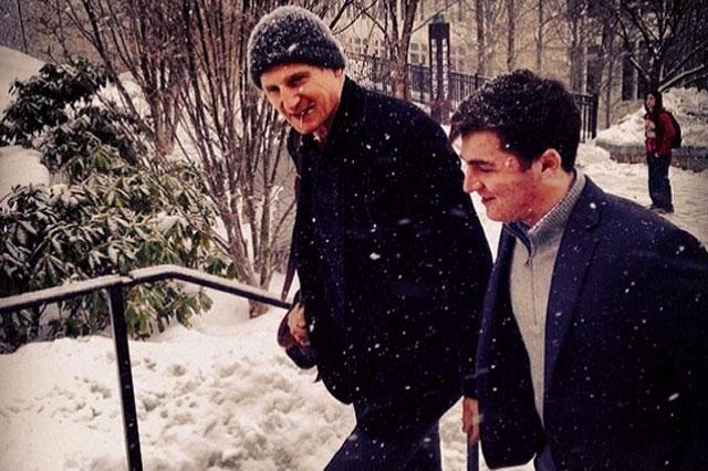 Liam Neeson and son Micheal at Boston College