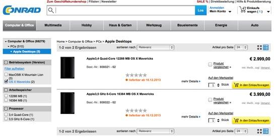 apples mac pro bei conrad vorbestellbar engadget deutschland. Black Bedroom Furniture Sets. Home Design Ideas
