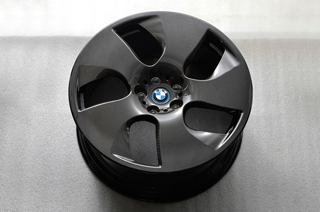 A carbon fiber wheel from BMW